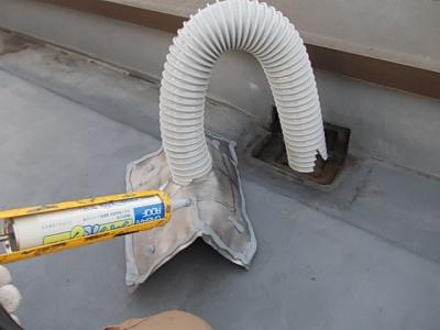 川崎市Gマンション鉄部塗装工事/改修用ドレン設置作業