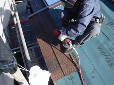 稲城市I様邸外壁塗装・屋根工事/ルーフィング葺き・軒先、ケラバ板金作業
