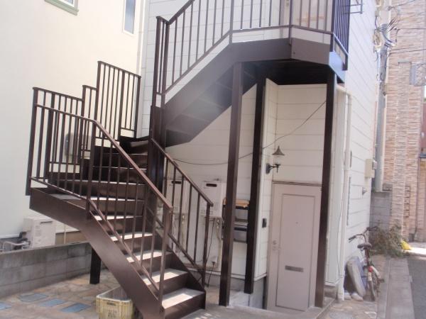 府中市Nアパート 鉄骨階段塗装