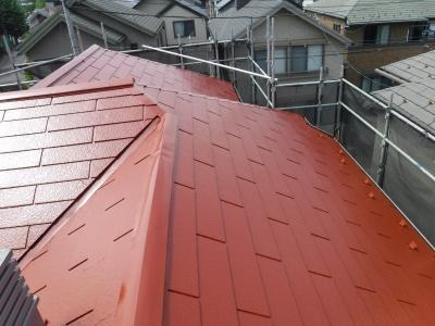 稲城市T様邸外壁・屋根塗装工事/屋根上塗り