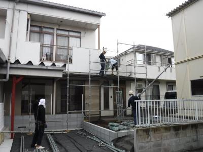 調布市G.Sマンション外壁塗装工事/足場仮設作業
