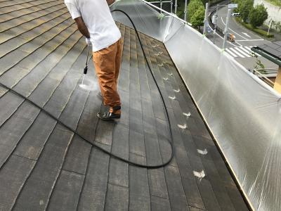 稲城市T様邸外壁・屋根塗装工事/高圧洗浄作業