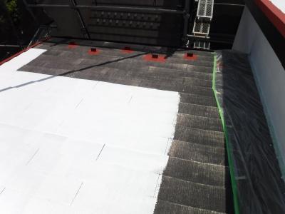 稲城市T様邸外壁・屋根塗装工事/屋根下塗り
