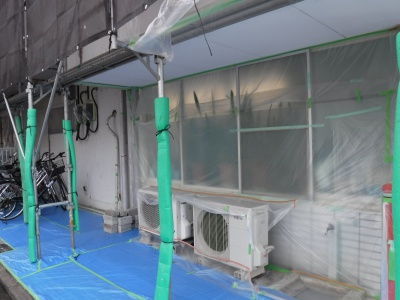 調布市G.Sマンション外壁塗装工事/ビニール養生作業