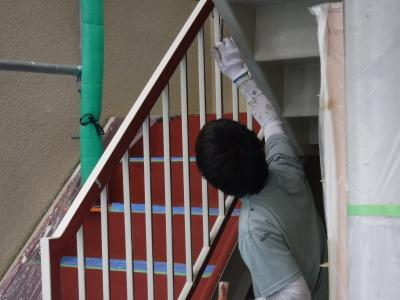 調布市G.Sマンション外壁塗装工事/付帯部塗装作業