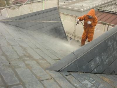 府中市Nアパート外壁・屋根塗装工事/高圧洗浄作業