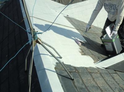 府中市Nアパート外壁・屋根塗装工事/屋根下塗り