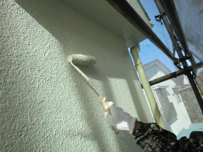 府中市Nアパート外壁・屋根塗装工事/外壁・屋根上塗り